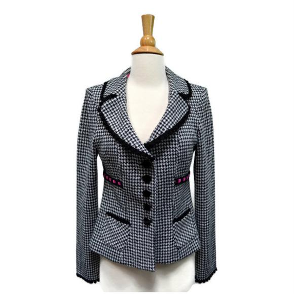 9f9901a3d Crochet Houndstooth Knit Blazer Black White Pink. M 5bb84522df03074d1a90d783